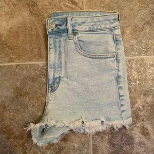 american eagle light wash high waisted shorts